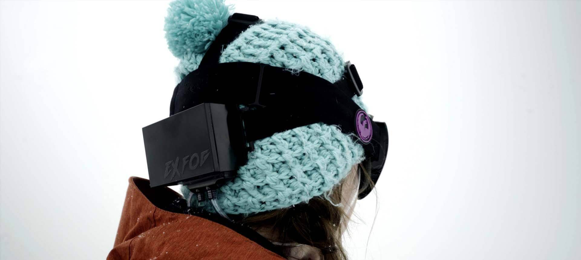 Woman wearing visor with ExFog system