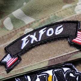 ExFog patch with flag design on fatigues