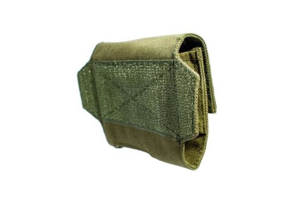 Side view of ExFog helmet pouch in green